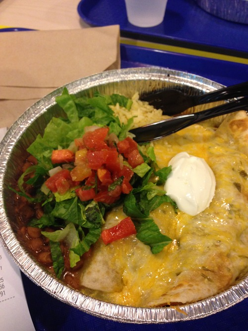 Costa Vida's enchiladas with beans and rice and a baby salad.