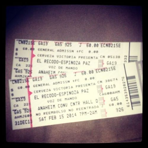Our tickets for the Banda Concert